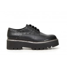 Scarpa donna cafe' noir Derby in pelle con borchie JEA132